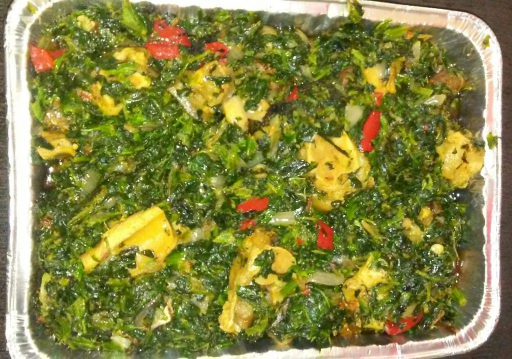 Spinach, Smoked Fish And Cow-foot/Tripe