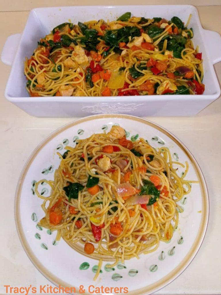 Spaghetti in Spinach